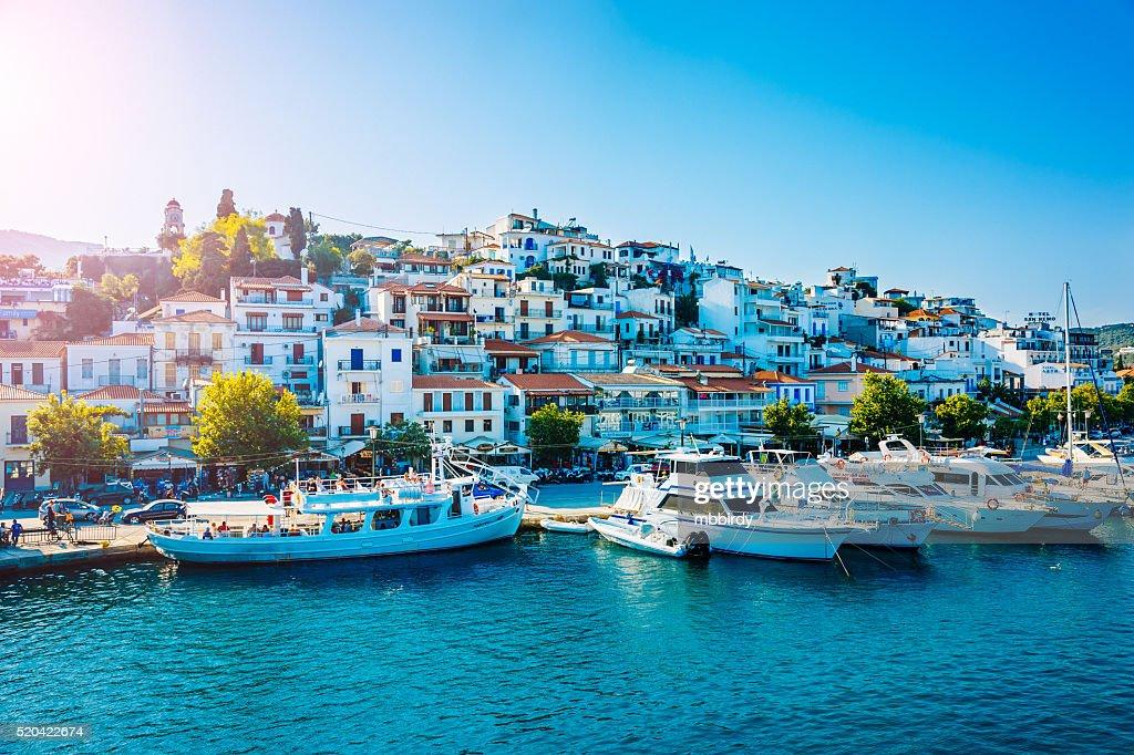 Skiathos ciudad, Skiathos Isla, Grecia : Foto de stock