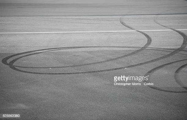 Skid marks on the track at the Formula One World Championship 2015 Canadian Grand Prix Montreal Canada