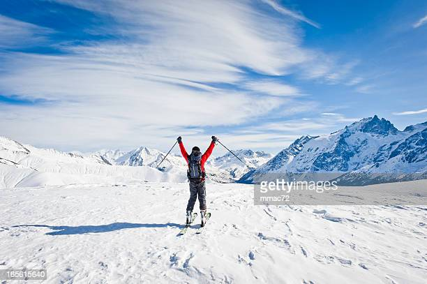 Skier Against Spectacular Mountainscape