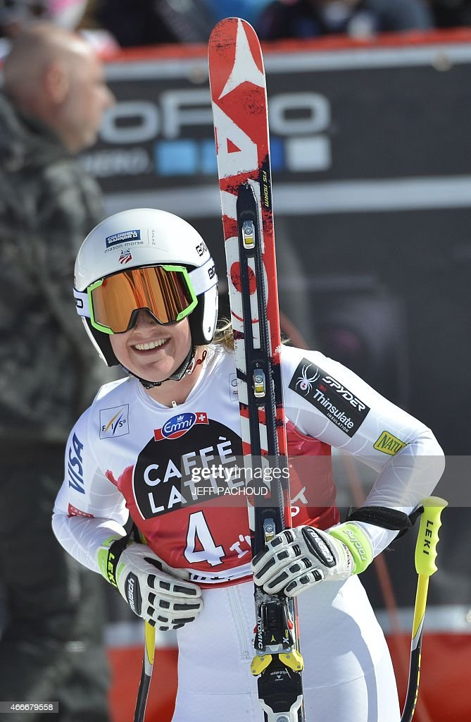 US skier Alice Mckennis reacts after the Women's downhill at the FIS Alpine Skiing World Cup finals in Meribel on March 18, 2015. AFP PHOTO / JEFF PACHOUD