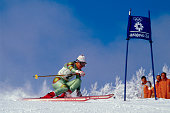 Skier Andreas Wenzel of Liechtenstein races around a flag on the giant slalom course during the final day of the 1984 Sarajevo Winter Olympic Games