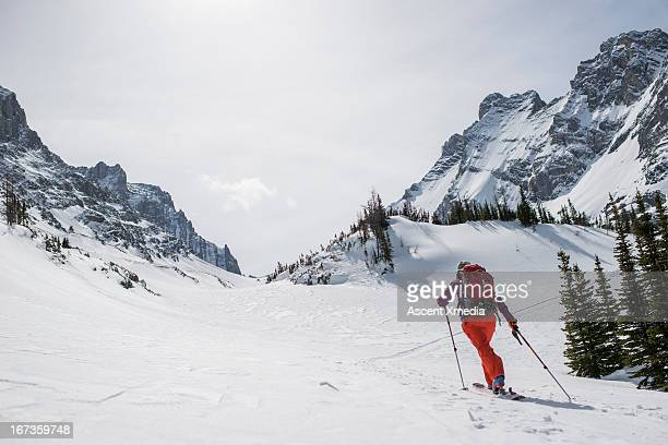 Skier ascends snowy path towards distant mountains