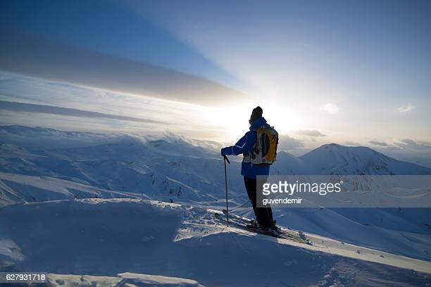 Skier at sunset