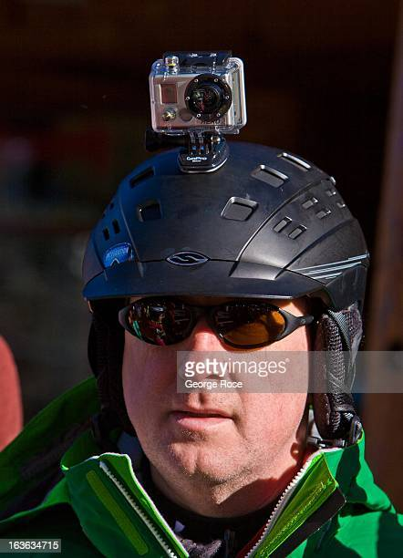 A skier at the Heavenly Ski Resort wears a Go Pro camera mounted on his helmet on March 9 near Stateline Nevada Lake Tahoe straddling the border of...