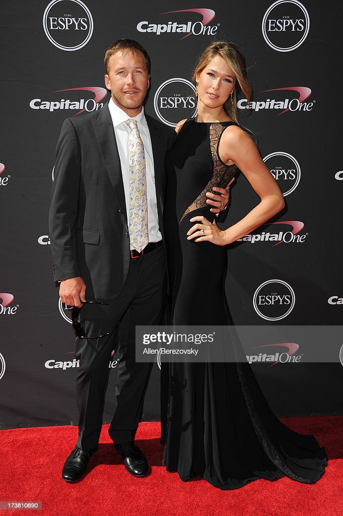 Skier Bode Miller and wife Morgan Beck arrive at the 2013 ESPY Awards at Nokia Theatre L.A. Live on July 17, 2013 in Los Angeles, California.