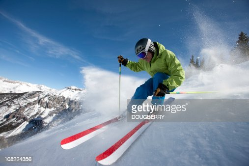 Skieur gros plan d'action : Photo