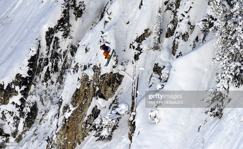 A skier competes during the 5th Linecatcher at the 'Cirque de Fond Blanc' on January 16, 2013 in Les Arcs ski resort, French Alps.