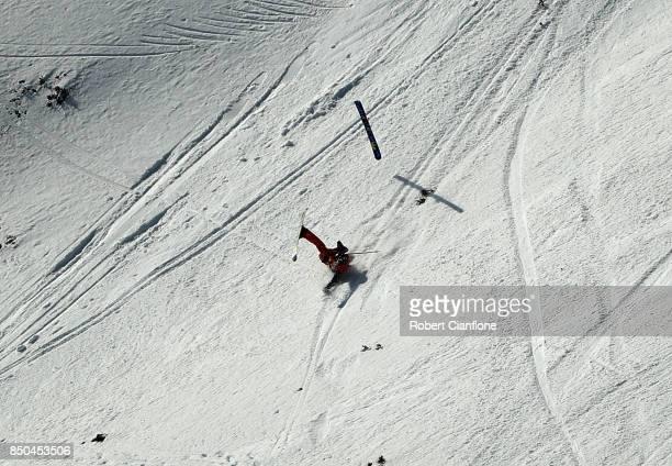 A skier crashes during the Buller X on September 21 2017 in Mount Buller Australia