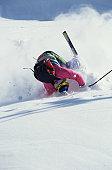 Skier crashing