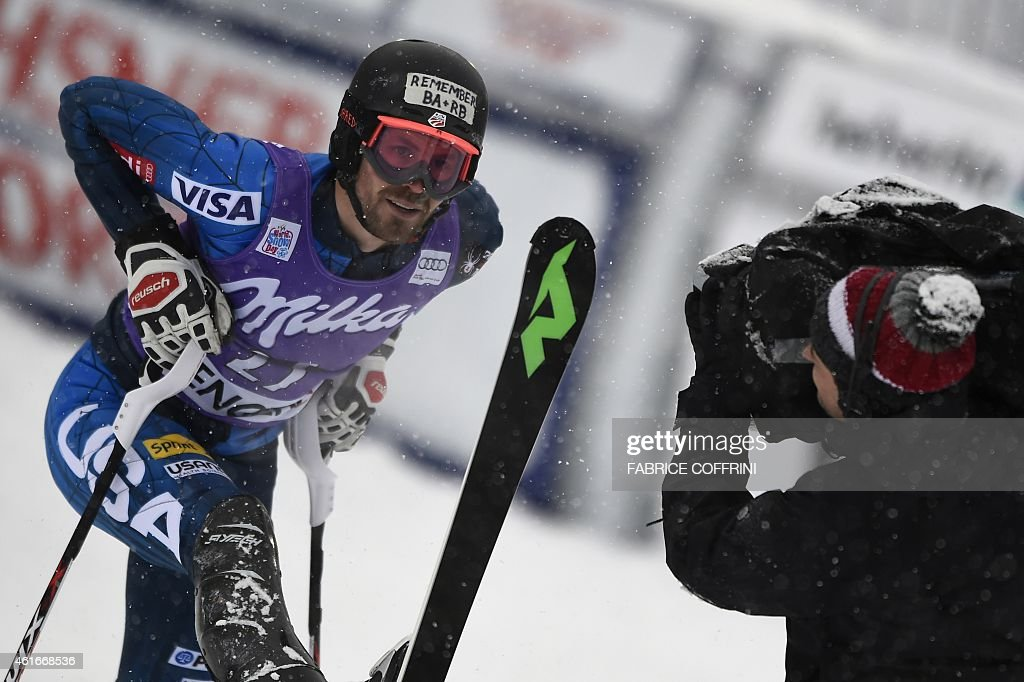 US skier <a gi-track='captionPersonalityLinkClicked' href=/galleries/search?phrase=David+Chodounsky&family=editorial&specificpeople=7425099 ng-click='$event.stopPropagation()'>David Chodounsky</a> reacts during the run 2 of the FIS Ski World Cup Men's Slalom in Wengen on January 17, 2015. AFP PHOTO / FABRICE COFFRINI