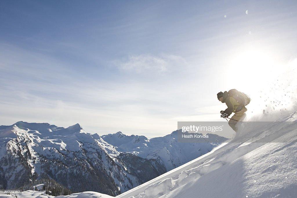 A skier descends. : Stock Photo