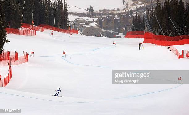 A skier descends the course during downhill training at the US Ski Team Speed Center at Copper Mountain on November 6 2013 in Copper Mountain...