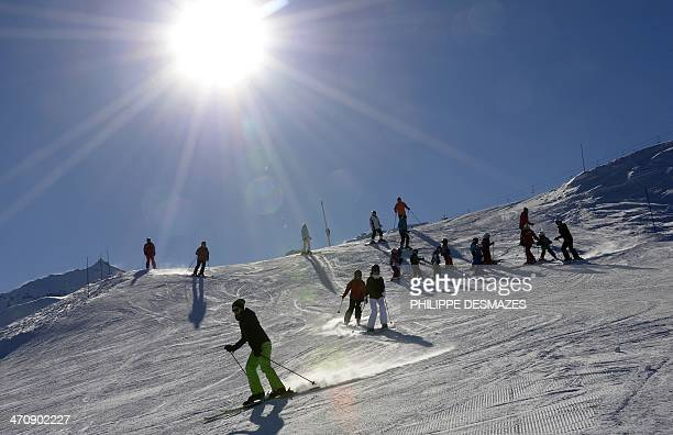 Skier down a slope on February 20 2014 at the Val Thorens ski station in the French Alps AFP PHOTO/PHILIPPE DESMAZES