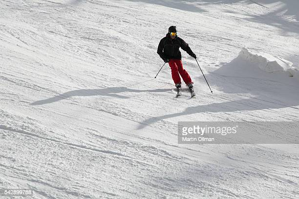 A skier enjoys the fresh snowfall on the opening weekend of the season on June 25 2016 in Thredbo Village Australia Snow has been forecast across...