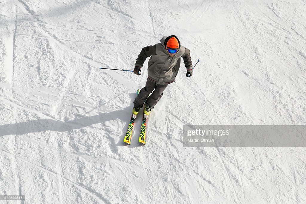 A skier enjoys the fresh snowfall on the opening weekend of the season on June 25, 2016 in Thredbo Village Australia. Snow has been forecast across Eastern Australia as cold front continues to bring low temperatures, rain and potentially damaging winds.