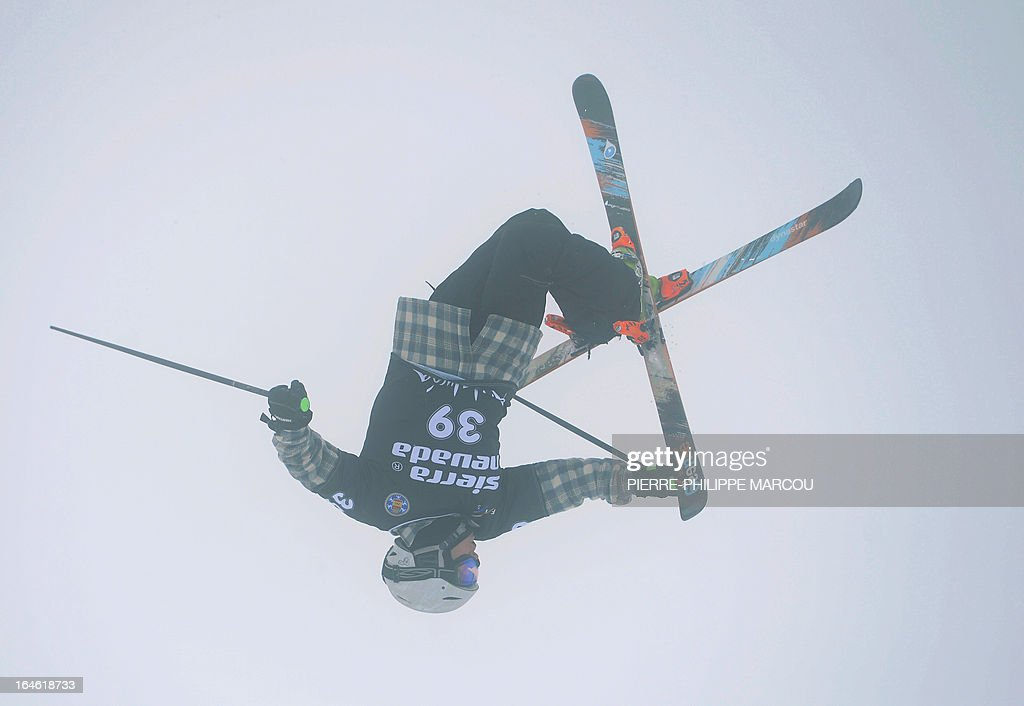 US skier Geoff Straight competes during the Men's ski Halfpipe race at the World Cup Super finals Snowboard and FreeStyle at Sierra Nevada ski resort near Granada on March 25, 2013.