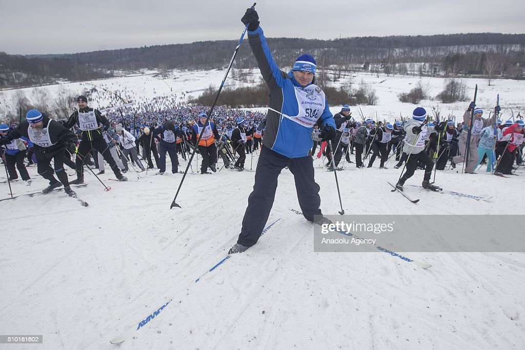 A Skier gestures during the all-Russian mass ski race 'Ski Track of Russia' at the basis of the Olympic training center 'Planernaya' in Khimki, Russia on February 14, 2016.
