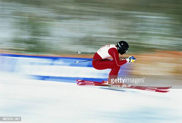 Skier in downhill race (blurred motion)