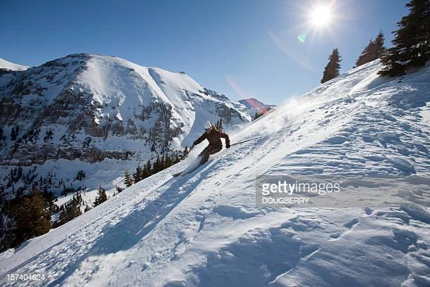 Ski dans la poudreuse fraîche
