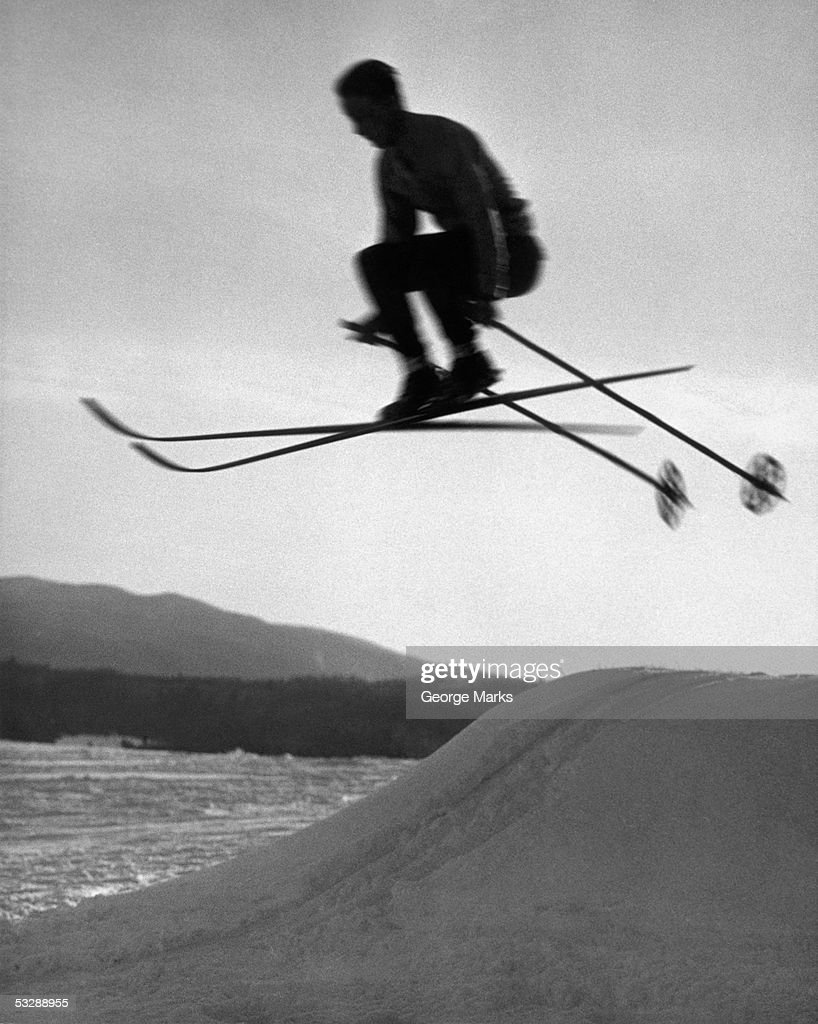 Skier in mid air : Stock Photo