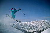 Skier in mid-air, Snowbird, Utah, USA