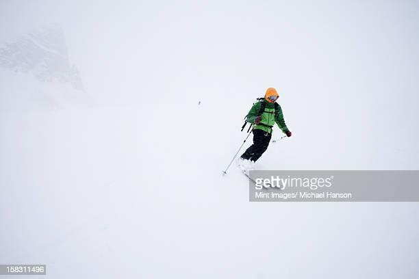 パウダースノーでのスキーにミストと雲の条件