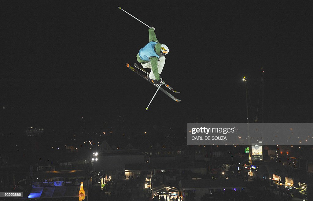 A skier is pictured as he takes part in a qualifying session at the Battersea power staion London on October 30 2009 The session took place ahead of...