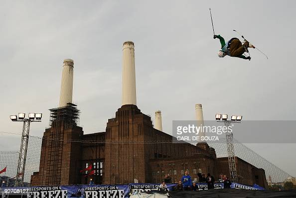 A skier is pictured as he takes part in a qualifying session at the Battersea power station in London on October 30 2009 The session took place ahead...