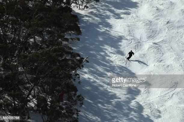A skier is seen on September 21 2017 in Mount Buller Australia Australians are enjoying one of the best ski seasons after the best snowfall in 17...
