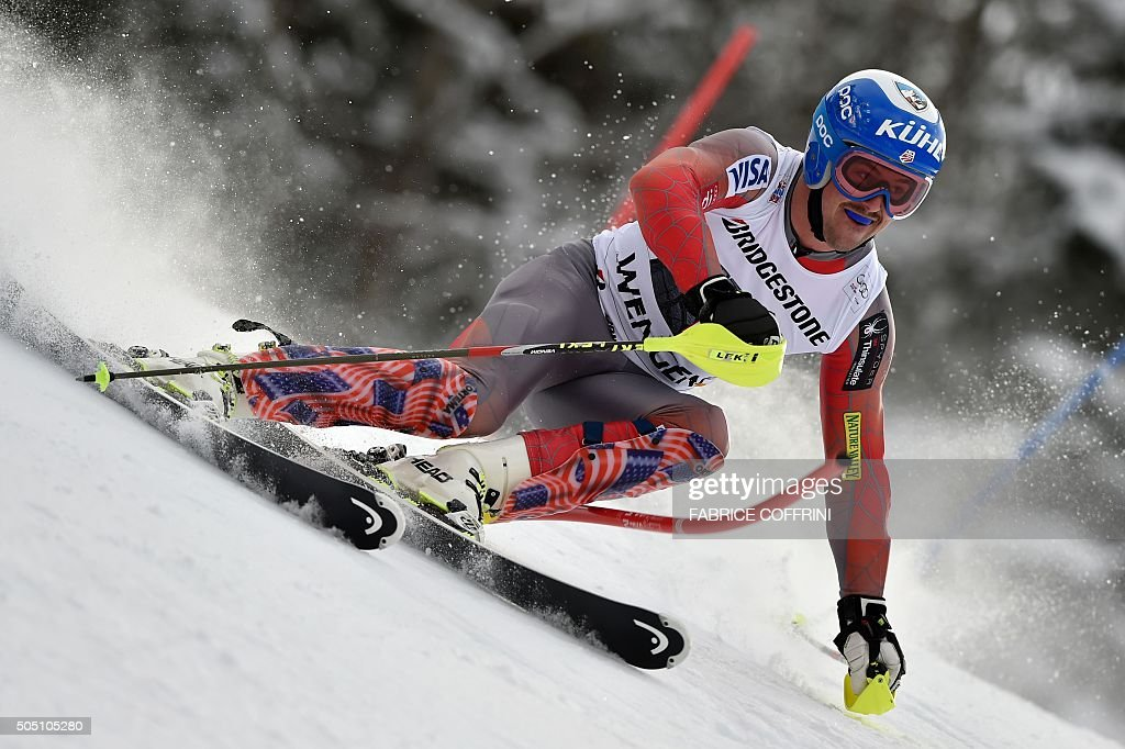 US skier Jared Goldberg competes in the finish area of the slalom race of the Alpine skiing FIS World Cup mens combined event on January 15 2016 in...