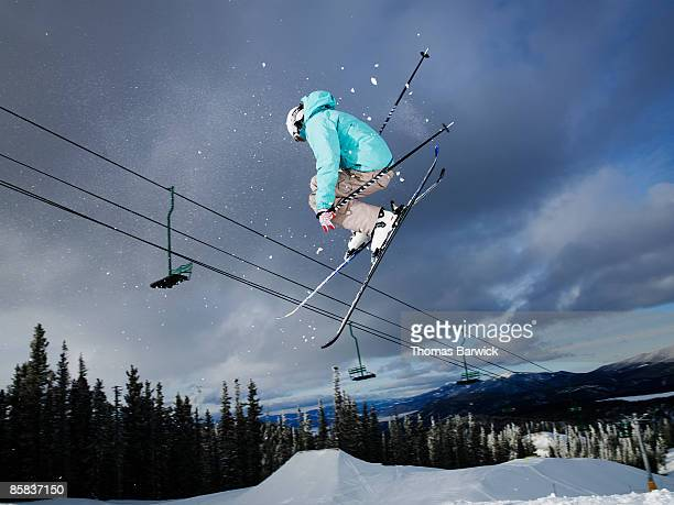 Skier jumping in mid-air