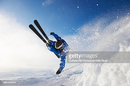 Skier jumping off snow, Are, Sweden