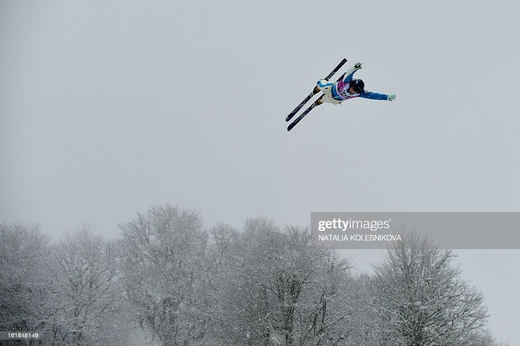 A skier jumps while training for the Freestyle Ski World Cup Men's Aerials Test Event at the Snowboard and Freestyle Center in Rosa Khutor near the Black Sea resort of Sochi, on February 17, 2013.