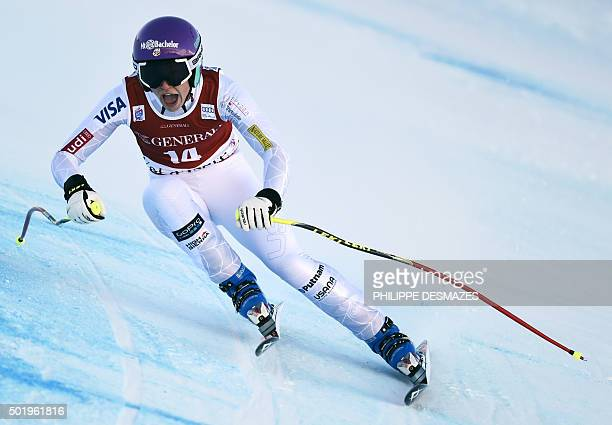 US skier Laurenne Ross competes in the FIS World Cup Alpine Women's Downhill on December 19 in Vald'Isere French Alps AFP PHOTO / PHILIPPE DESMAZES /...