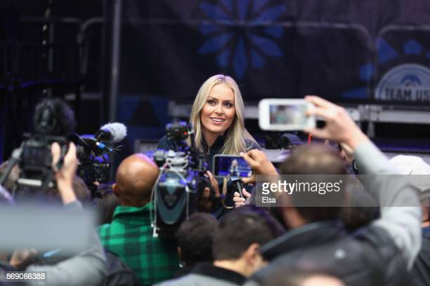 skier Lindsey Vonn answers media questions during the 100 Days Out 2018 PyeongChang Winter Olympics Celebration Team USA in Times Square on November...