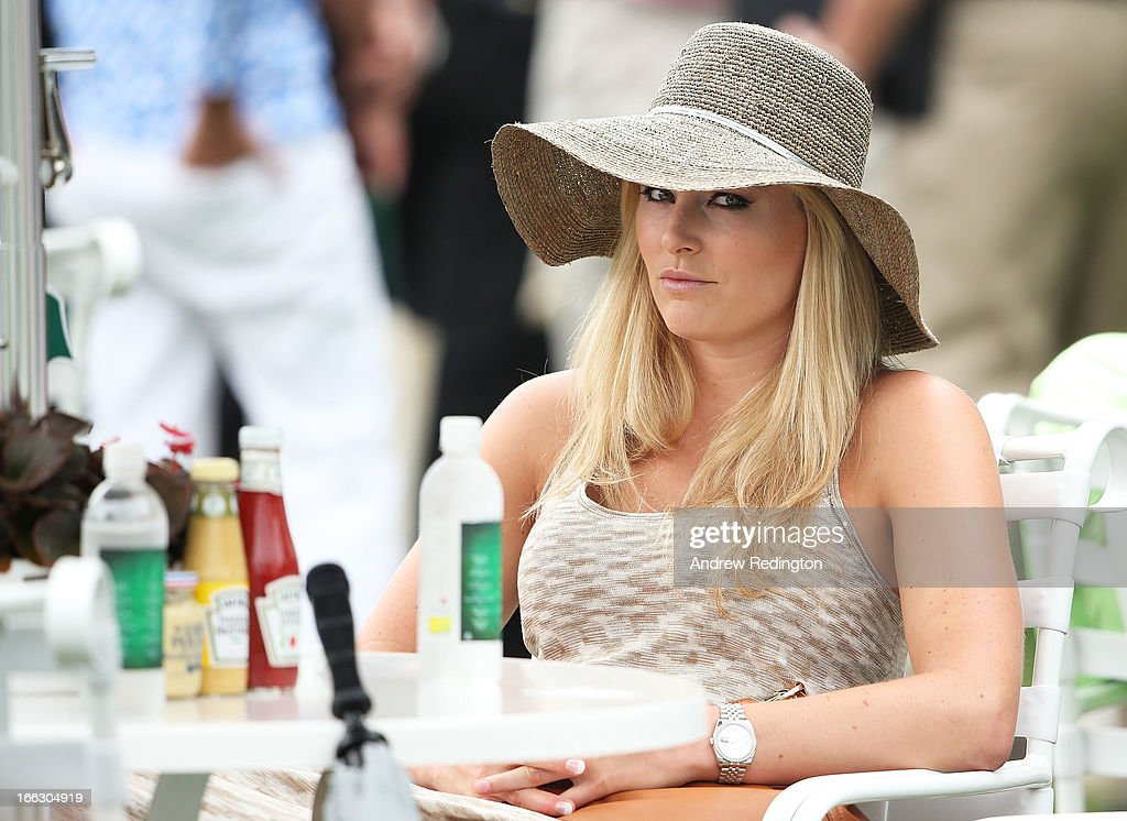 Skier <a gi-track='captionPersonalityLinkClicked' href=/galleries/search?phrase=Lindsey+Vonn&family=editorial&specificpeople=4668171 ng-click='$event.stopPropagation()'>Lindsey Vonn</a> attends the first round of the 2013 Masters Tournament at Augusta National Golf Club on April 11, 2013 in Augusta, Georgia.