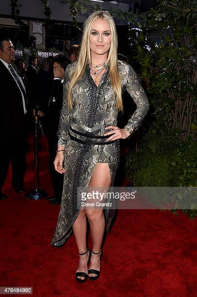 Skier Lindsey Vonn attends the Universal Pictures' 'Jurassic World' premiere at the Dolby Theatre on June 9 2015 in Hollywood California