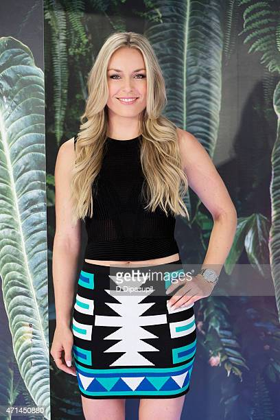Skier Lindsey Vonn poses for a portrait while visiting 'Extra' at their New York studios at HM Times Square on April 21 2015 in New York City