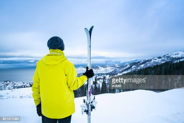 A skier look out across The View