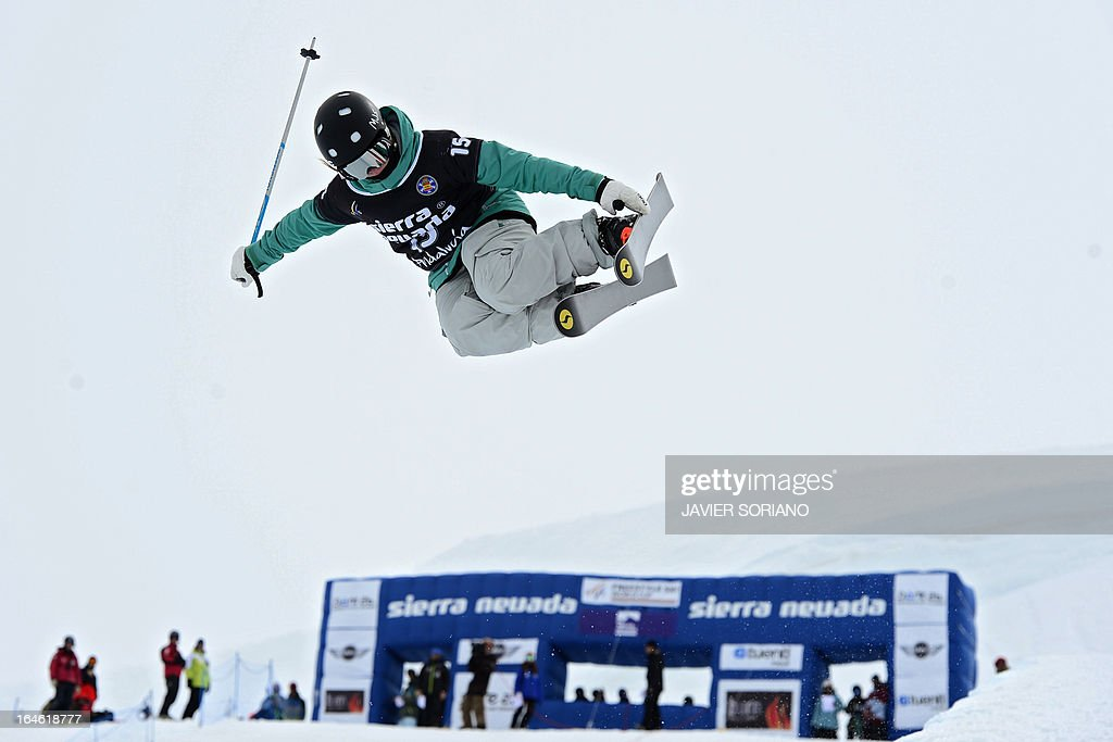 US skier Maggie Stout competes in the Ladies' Half Pipe race at the Snowboard and FreeStyle World Cup Super finals at Sierra Nevada ski resort near Granada on March 25, 2013. AFP PHOTO/ JAVIER SORIANO