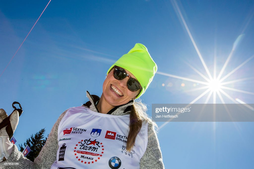 Skier <a gi-track='captionPersonalityLinkClicked' href=/galleries/search?phrase=Manuela+Moelgg&family=editorial&specificpeople=801741 ng-click='$event.stopPropagation()'>Manuela Moelgg</a> poses for a picture during the Star Team for Children Charity Event on March 28, 2015 in Sexten, Italy.