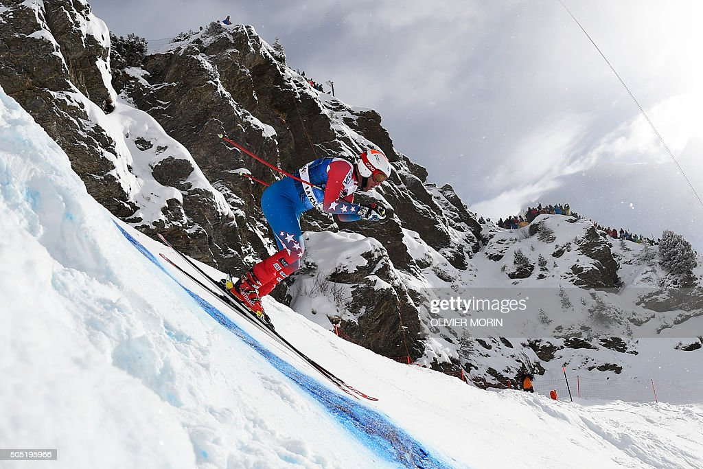 US skier Marco Sullivan competes in the Alpine skiing FIS World Cup mens downhill event on January 16 2016 in Wengen AFP PHOTO / OLIVIER MORIN / AFP...