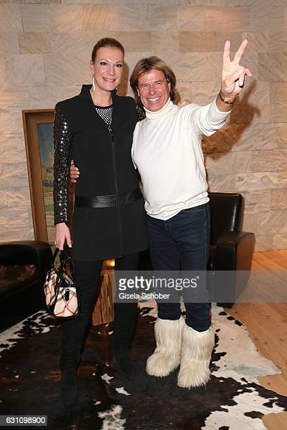 Skier Maria HoeflRiesch and Hansi Hinterseer during the NeujahrsKarpfenessen at Hotel Kitzhof on January 6 2017 in Kitzbuehel Austria