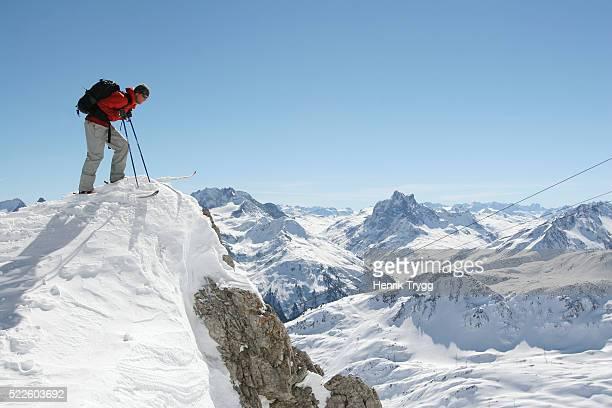 Skier on Steep Face of Valluga Peak