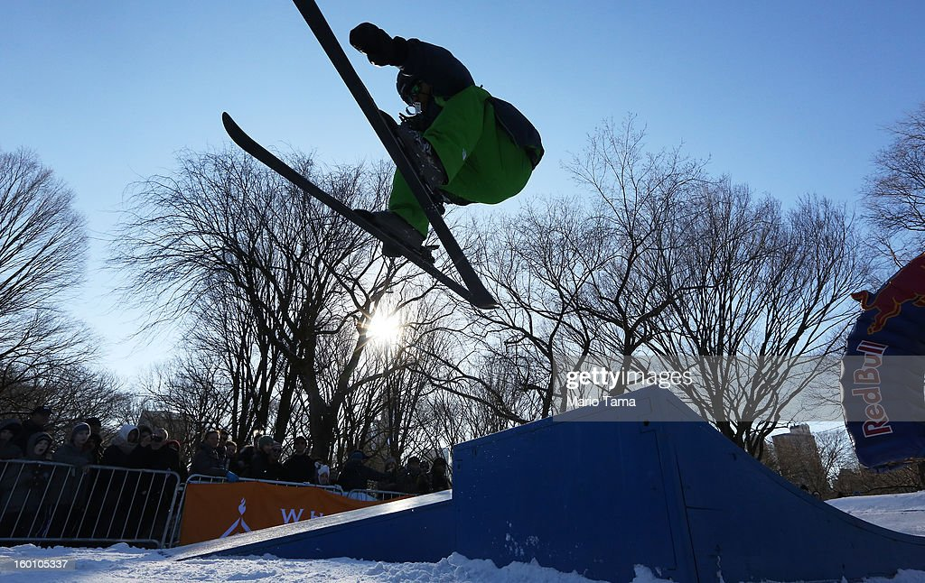 A skier performs as jump at the Winter Jam in Central Park on January 26, 2013 in New York City. The annual festival brings skiing, snowboarding and snowshoeing to New Yorkers with free equipment.