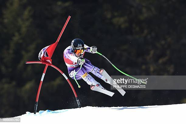 US skier Stacey Cook competes in the Women's downhill at the FIS Alpine Skiing World Cup finals in Meribel on March 18 2015 AFP PHOTO / PHILIPPE...