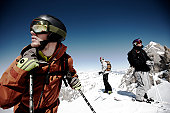 Skier standing on mountain top of the Marmolada