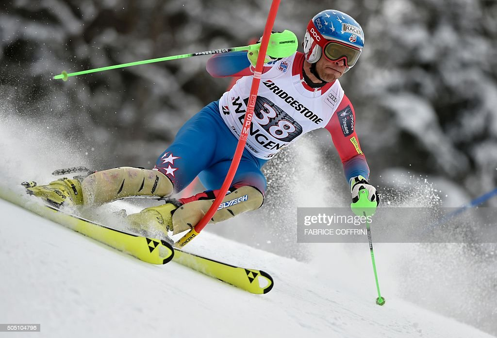 US skier Steven Nyman competes in the slalom race of the Alpine skiing FIS World Cup mens combined event on January 15 2016 in Wengen AFP PHOTO /...