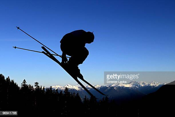 A skier takes a run during the men's ski cross race on day ten of the Vancouver 2010 Winter Olympics at Cypress Mountain Resort on February 21 2010...