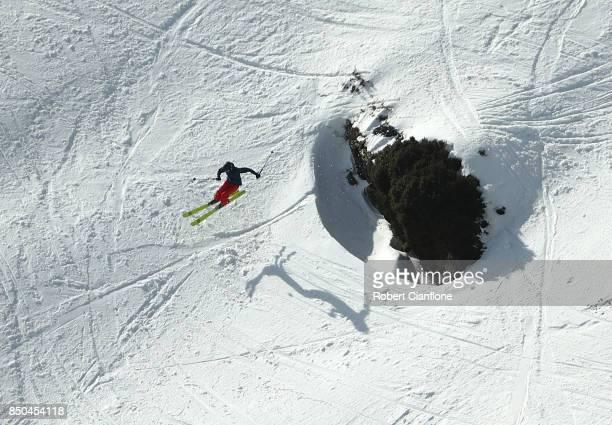 A skier takes part in the Buller X on September 21 2017 in Mount Buller Australia